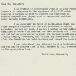 Letter : 1952 February 18
