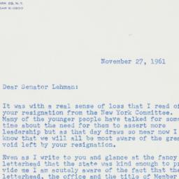 Letter : 1961 November 27