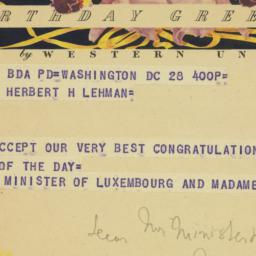 Telegram : 1953 March 28