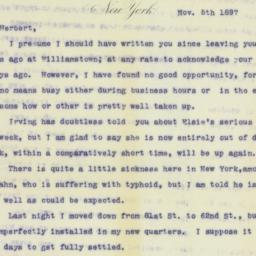 Letter : 1897 November 5