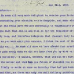 Letter : 1898 May 31