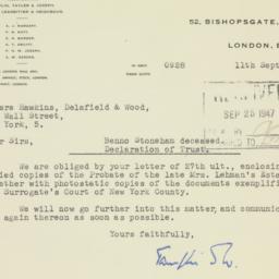 Letter : 1947 September 11