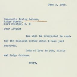 Letter: 1938 June 3