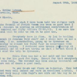 Letter: 1938 August 29