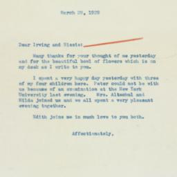 Letter: 1939 March 29