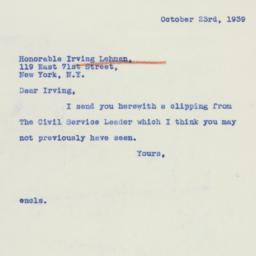 Letter: 1939 October 23