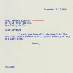 Letter: 1939 November 2