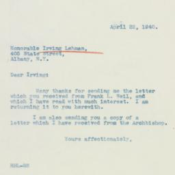 Letter: 1940 April 22