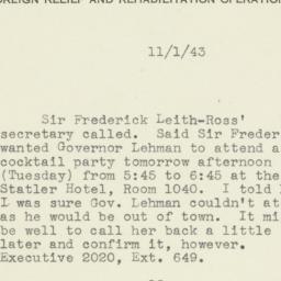 Letter : 1943 November 1