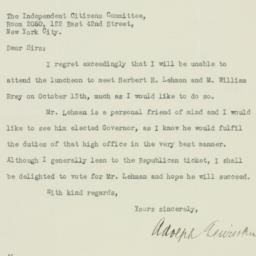 Letter: 1932 October 11