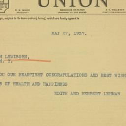 Letter: 1937 May 27