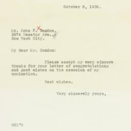 Letter: 1936 October 8