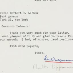 Telegram : 1946 June 19