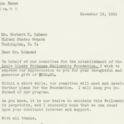 Letter : 1951 December 19