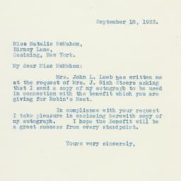 Letter : 1933 September 18