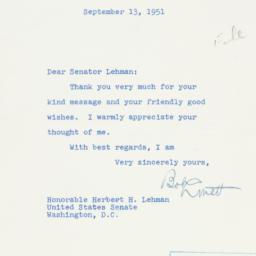 Letter : 1951 September 13