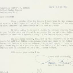 Letter : 1951 February 14