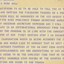 Telegram: 1947 October 4