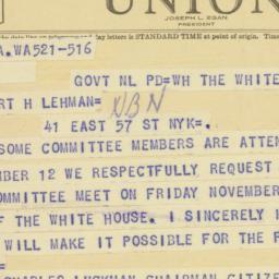 Telegram: 1947 November 5