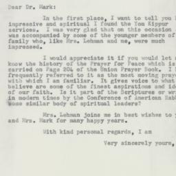 Letter : 1954 October 9