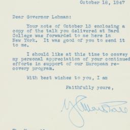 Letter : 1947 October 18