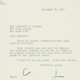 Letter: 1950 November 8