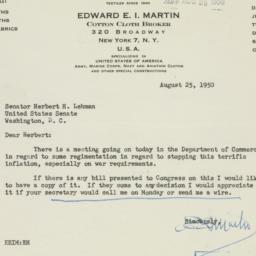 Letter : 1950 August 25