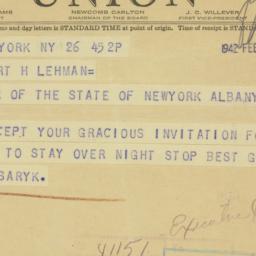 Telegram : 1942 February 26