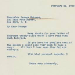 Letter : 1938 February 23