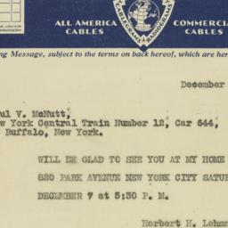 Telegram: 1929 December 6