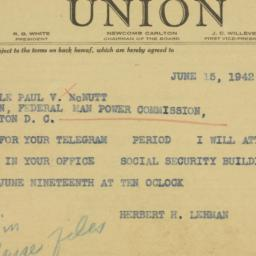 Telegram : 1942 June 15