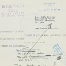 Telegram : 1949 November 11