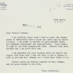 Letter : 1953 April 22