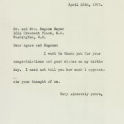 Letter : 1953 April 16