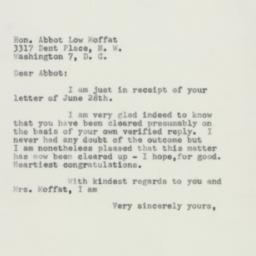 Letter : 1954 July 1