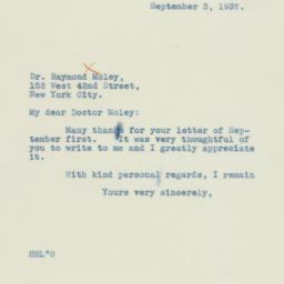 Letter: 1937 September 3