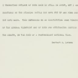 Telegram : 1952 November 5