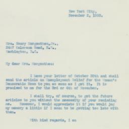 Letter : 1933 November 2