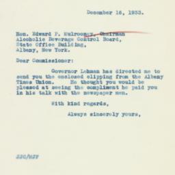 Letter : 1933 December 16