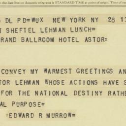 Telegram : 1958 March 28