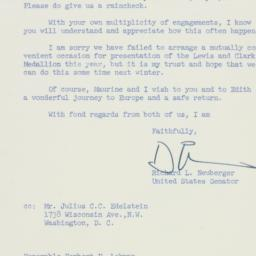 Letter: 1957 May 9