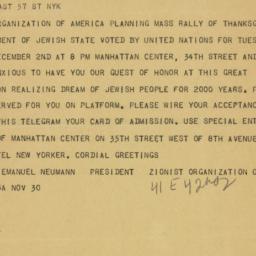 Telegram : 1947 November 29