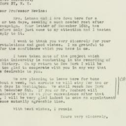 Letter : 1949 November 26