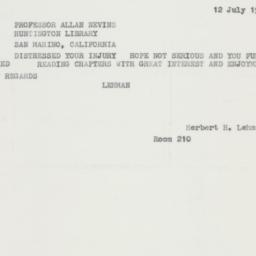 Telegram: 1962 July 12