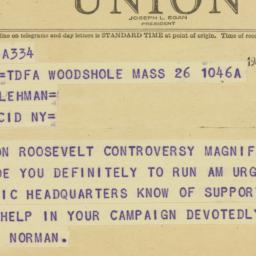 Telegram : 1949 July 26