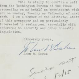 Letter : 1950 December 7