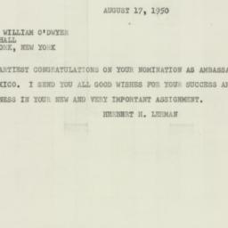 Telegram : 1950 August 17