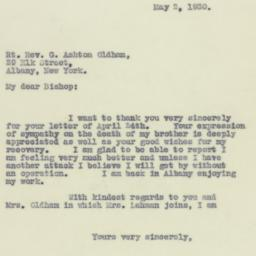 Letter : 1930 May 2