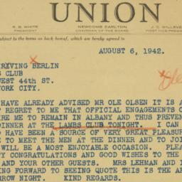 Telegram: 1942 August 6