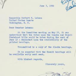 Letter : 1950 June 3